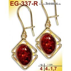 EG-337-R Bernstein-Ohrringe Vergoldet, rot