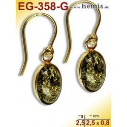 EG-358-G Bernstein-Ohrringe Vergoldet, gruen
