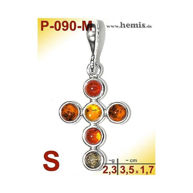 P-090-M Amber Pendant, silver-925 multicolor, cross, S, modern