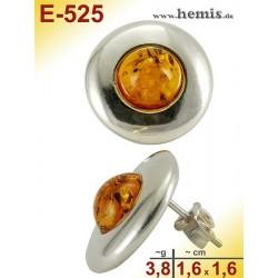 E-525 Bernstein-Ohrstecker, Bernsteinschmuck, Silber-925