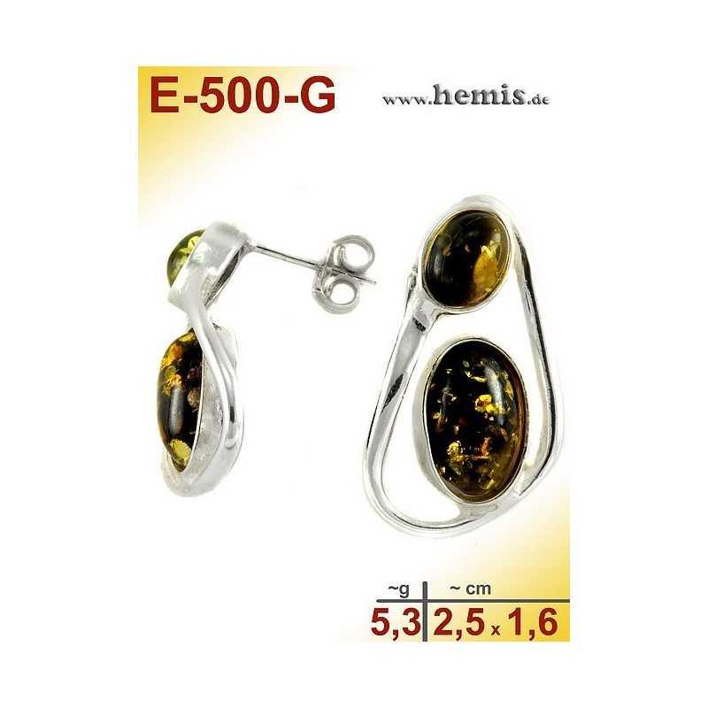 E-500-G Bernstein Ohrstecker, Bernsteinschmuck, Silber-925