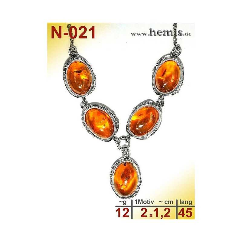 N-021 Necklace Sterling silver, 925, nickel free, Real natural amber, Color cognac