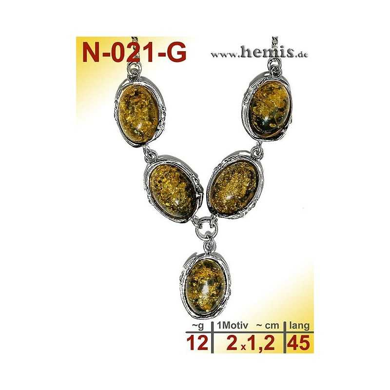 N-021-G  Necklace Sterling silver, 925, nickel free, Real natural amber, Color green