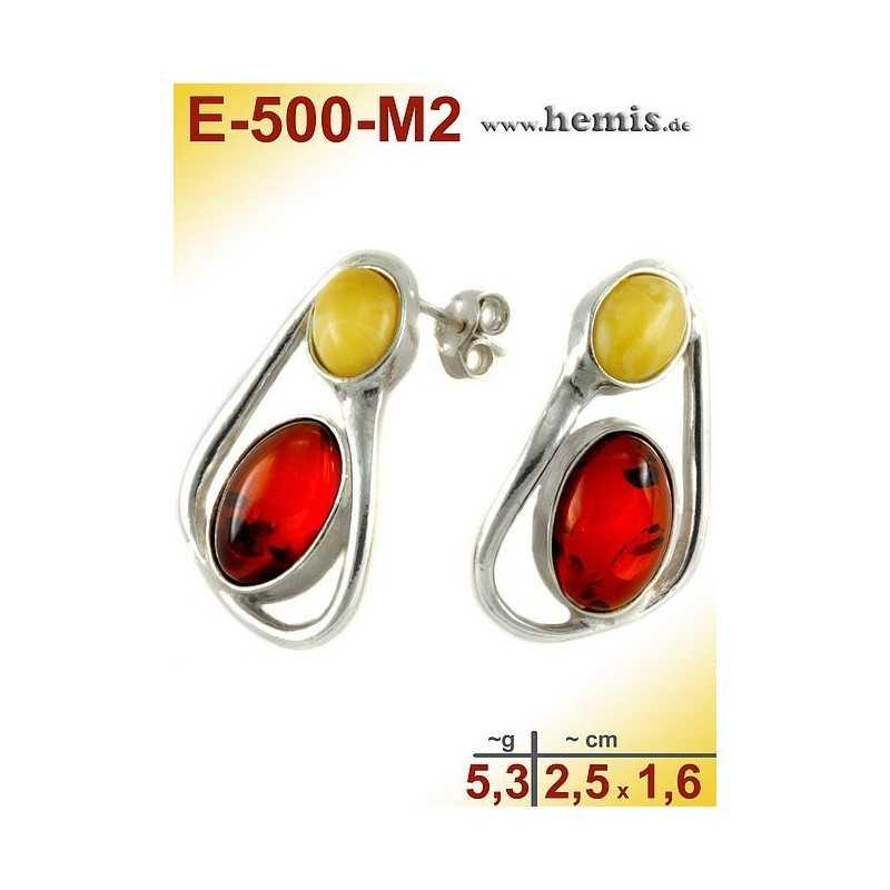 E-500-M2 Bernstein Ohrstecker, Bernsteinschmuck, Silber-925