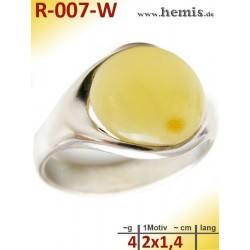R-007-W Amber Ring, silver-925, white, unique, M, modern, round