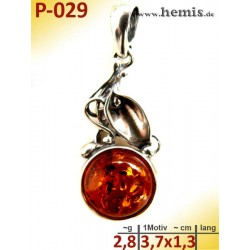 P-029 Amber Pendant, silver-925, cognac color, S, Leaf Decor