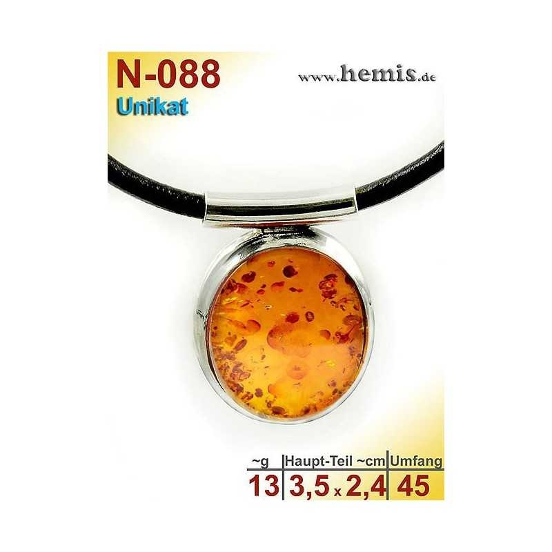 N-088 Necklace Unique Sterling silver, 925 nickel free, rubber Real natural amber Color cognac modern smooth elegant