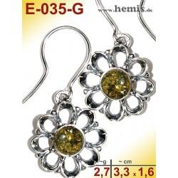 E-035-G Amber Earrings,...