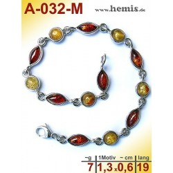 A-032-M Amber Bracelet, Amber jewelry, silver-925, Color mix