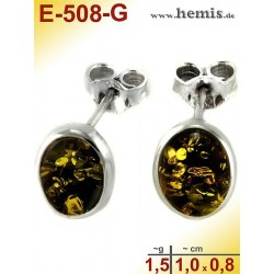 E-508-G Studs Sterling silver 925 nickel free Real natural amber Color green