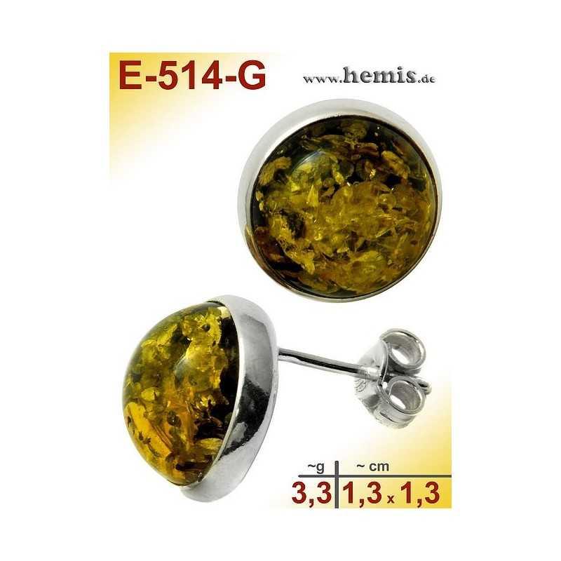 E-514-G Bernstein-Ohrstecker, Bernsteinschmuck, Silber-925