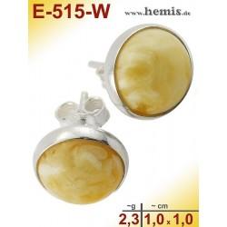 E-515-W Bernstein-Ohrstecker, Bernsteinschmuck, Silber-925