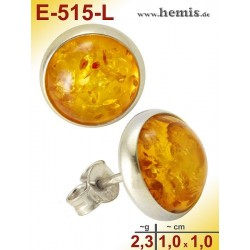 E-515-L Bernstein-Ohrstecker, Bernsteinschmuck, Silber-925