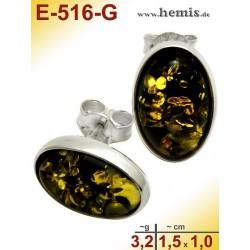 E-516-G Bernstein Ohrstecker, Bernsteinschmuck, Silber-925