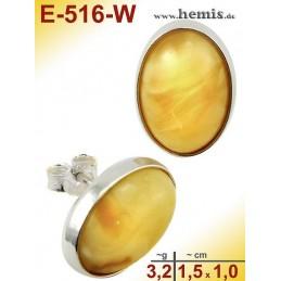 E-516-W Bernstein Ohrstecker, Bernsteinschmuck, Silber-925